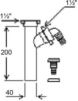 """Патрубок GHIDINI DN40 х 1 1/2"""" с подключением к стиральной машине (402)"""