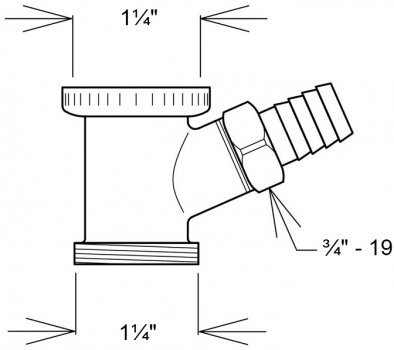"""Патрубок GHIDINI DN1 1/4"""" с подключением к стиральной машине хром (848)"""