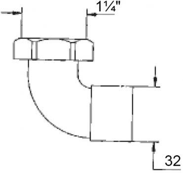 """Патрубок угловой GHIDINI DN32 х 1 1/4"""" для трапа (403)"""