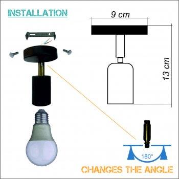 """Світильник настінний Electropark, спот поворотний """"SLEEVE-W Е27 на одну лампу, білий колір (LS-000047)"""