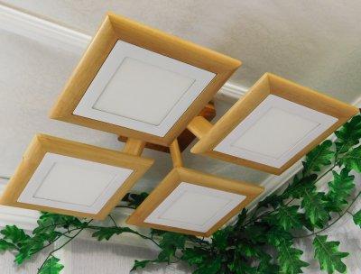Світильник стельовий Electropark з першосортного дерева, сучасний стиль, квадратна форма, на 4 led панелі за 12 Вт. (LS-000010)