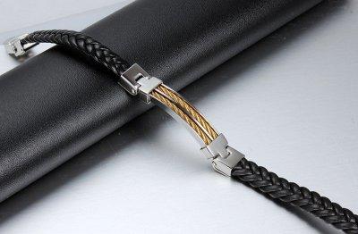 Мужской кожаный браслет Primo Steel Rope - Gold Primo золотой, серебряный, черный