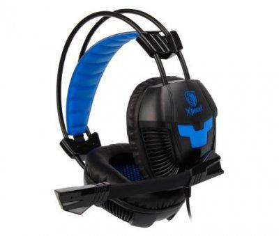 Навушники гарнітура накладні Sades SA-706 Black/Blue