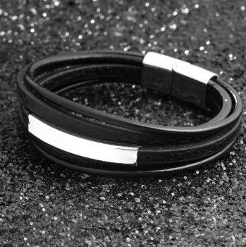 Мужской кожаный браслет Primo Jewelry Punk с магнитной застежкой Primo BJCS645 черный