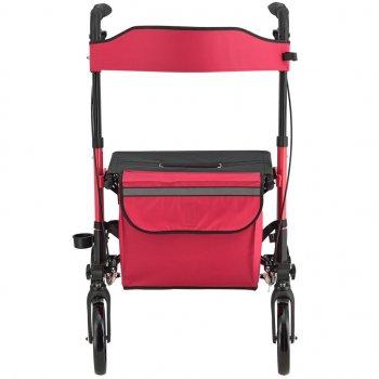 Ролатор Juskys Красный, ходунки на колесах с сидением и сумкой