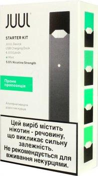 Стартовый набор POD-система JUUL Starter Kit Black + 4 картриджа Mint, промо набор (JU-SK-MI)