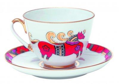 Чашка с блюдцем чайная Императорский фарфор Весенняя Красный конь 250мл 81.15308.00.1