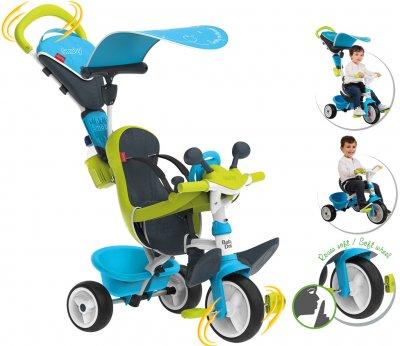 Велосипед детский Smoby Toys Беби Драйвер металлический с козырьком и багажником голубо-зеленый (741200) (3032167412003)
