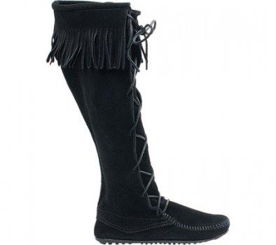 Мужские сапоги Minnetonka Front Lace Hardsole Knee Hi Black Suede (131081)