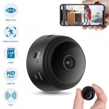 Микро мини камера для видеонаблюдения Wi-Fi HD Action Camera A9 Ночное видение и датчик движения Black