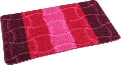 Набір килимків для ванної та туалету протиковзких Hali Fluffy 2шт 50х80см і 50х40см Вишневий (6176)