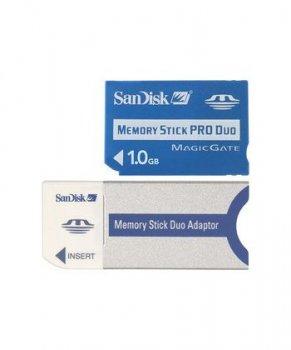 SanDisk Memory Stick Pro Duo 1GB + Memory Stick Duo адаптер