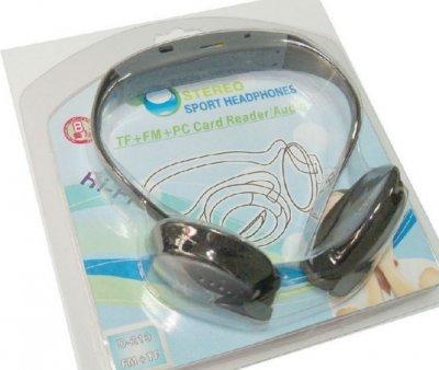 Спортивний MP3-плеєр Kronos D-219 навушники з підтримкою TF-карти і FM радіо Чорний (acf_00172)