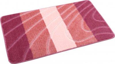 Набір килимків для ванної та туалету на гумовій основі Hali Смуги 2шт 60х100 і 60х50см Рожевий (6133)