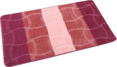 Набір килимків для ванної та туалету на гумовій основі Hali Rose Wave 2шт 60х100 і 60х50см Рожевий (6132)
