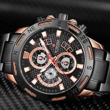 Наручний годинник AlexMosh чоловічі Naviforce NF9165 Black-Cuprum (31)