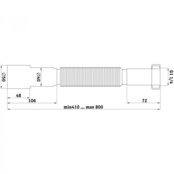 """Гибкая труба для сифона ANI Plast К206 с накидной гайкой 1 1/4"""""""