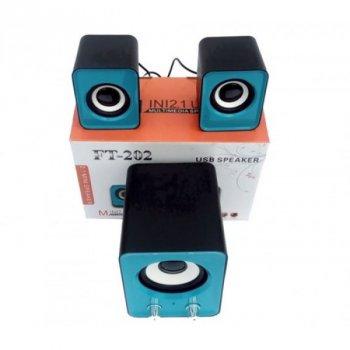 Колонки SPEAKER FT-2020 Premium для ноутбука та пк акустика 2.1 з сабвуфером, сині, акустика, акустична система, музичний центр, Bluetooth ( блютус), для будинку, дачі, кафе, природи, акумуляторні, комп'ютерні