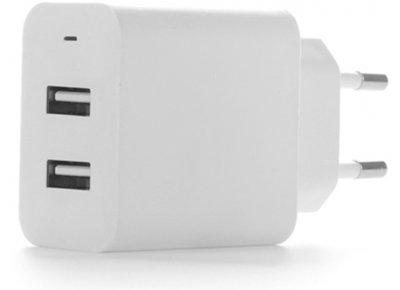 Сетевое зарядное устройство ColorWay 2 USB AUTO ID 4.8A (24W) White (CW-CHS016-WT)