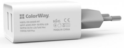 Сетевое зарядное устройство ColorWay 2 USB AUTO ID 2.1A (10W) White (CW-CHS015-WT)