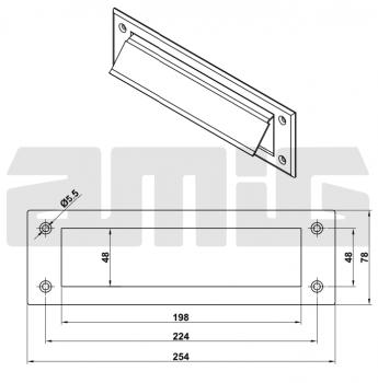 Заслонка для почтового ящика AMIG мод.1 нержавеющая сталь (7586)