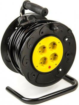 Подовжувач на котушці PowerPlant 20 м, 2x1.0мм2, 8А, 4 розетки (JY-2000/20)