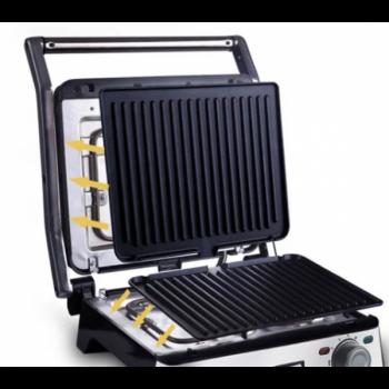 Гриль электрический DSP KB 1045 с контролем температуры 1800 Вт + сьемные пластины Серебристый