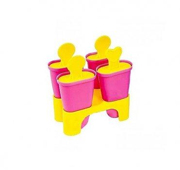 Формы для мороженого пластик 4 штуки в наборе 11см Малиновый Stenson (R21144r)