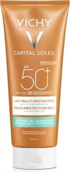 Солнцезащитное молочко Vichy Capital Soleil Beach Protect Multi-Protection SPF 50+ водостойкое, с гиалуроновой кислотой 200 мл (3337875648530)