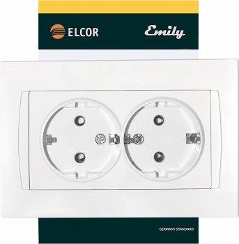 Розетка двойная с заземлением ELCOR Emily Белая (211518)