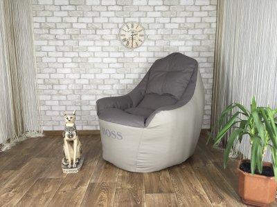 """Кресло-груша """"Elegant"""" Кресло Boss Эко-кожа серая + Рогожка ромб серый ХL 100 см х 95 см"""