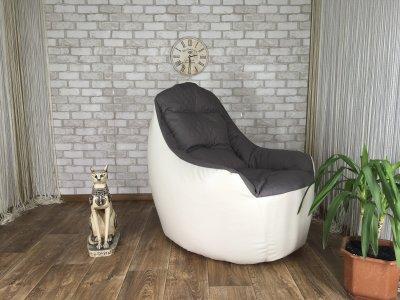 """Кресло-груша """"Elegant"""" Кресло Boss Эко-кожа белая + Рогожка серый ромб ХL 100 cм - 95 см"""