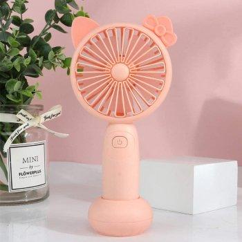 Вентилятор USB ручний акумуляторний з підставкою міні-вентилятор Mini Fan ML-2164 Рожевий