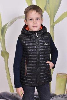 Дитячий двосторонній теплий жилет PLeseS чорний з жовтогарячим