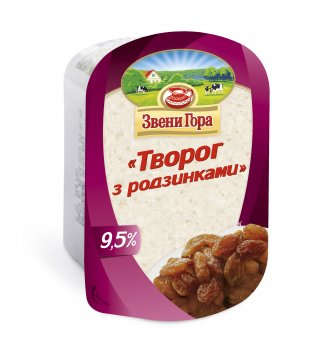 Сир кисломолочний Звени Гора Сир з родзинками 9,5% жиру 200г