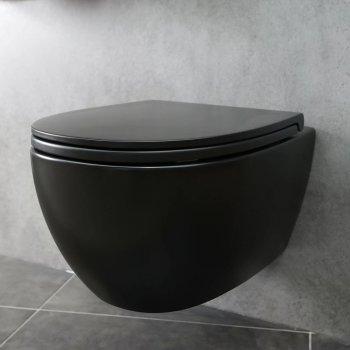 Унитаз подвесной Globo 4ALL 54х36, черный (MDS03AR)