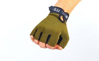 Перчатки тактические с открытыми пальцами 5.11 BC-4379 Оливковый М (MR03857)
