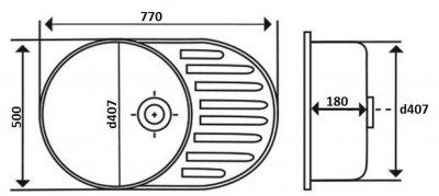 Кухонна мийка LIDZ 7750 Satin 0.8 мм (LIDZ7750SAT)