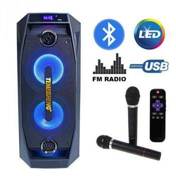 Акустична система Temeisheng TMS-802 BT\SD\USB 2 караоке Бездротових мікрофона, Потужність 250 (223242421zag)
