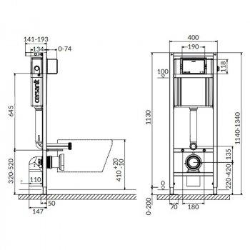 Инсталляционная система Cersanit Aqua 22 QF без кнопки (971438) 1130х410
