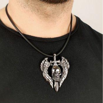 Кулон готический VIG череп с крыльями из стали (ps-2929)