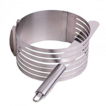 Регульована форма слайсер для бісквіта Kamille (KM 7799) 24,5 - 30 см з ножем