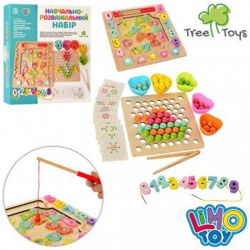 Дерев'яна іграшка 3в1: рибалка, мозаїка з кульками і пінцетом, цифри. MD 2450