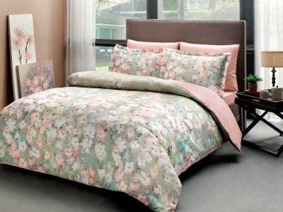 Комплект постельного белья TAC Сатин Digital Jamie V01 pudra 200x220 см (TAC60228722)