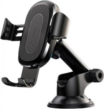 Бездротовий зарядний пристрій Baseus Wireless Charger Gravity Car Mount Osculum Type Black (WXYL-A01)