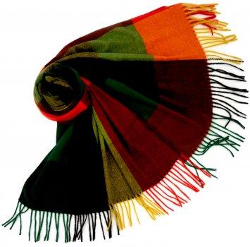 Палантин SumWin Скай-клетка 185 х 75 см Зеленый/Красный/Желтый