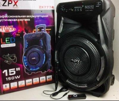 Колонка на акумуляторі з мікрофоном ZPX ZX-7774 потужність 90W світлодіодний RGB Led підсвічування динаміка (USB/Bluetooth/FM)
