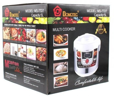 Мультиварка Domotec MS 77270, 5 л, 12 режимов приготовления, белая, Китай, тефлон, программа мульти-повар