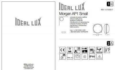 Настінний світильник Ideal Lux MORGAN AP1 SMALL (162027)
