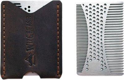 Металлическая расческа для бороды и волос WizGrease в кожаном чехле (13194)